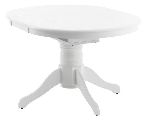Ruokapöytä ASKEBY Ø100 lisälevyllä valk.