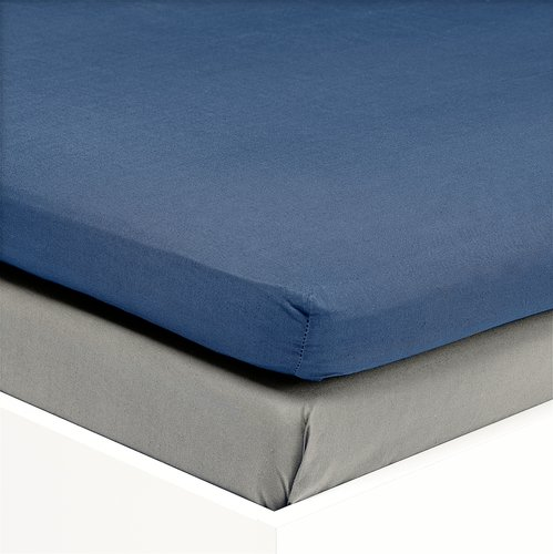 Hoeslaken topper 140x200 satijn blauw KR