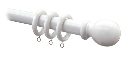 Curtain pole wood 240 cm 28mm white