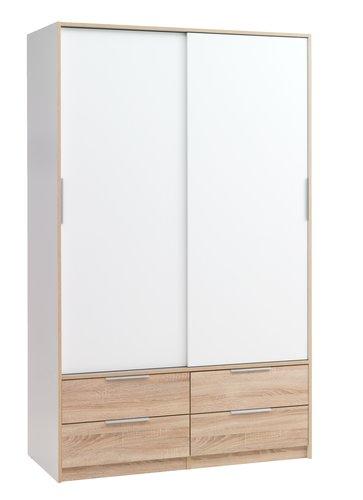 Dulap KJELLERUP 122x201 alb/stejar