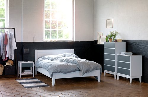 Bed frame NORDBY KNG white