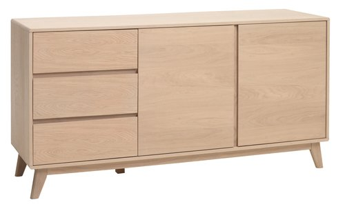 Sideboard Kalby 2 Door 3 Drw Light Oak Jysk