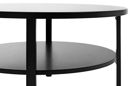 Soffbord SKIBBY Ø80 cm m/hylla svart | JYSK