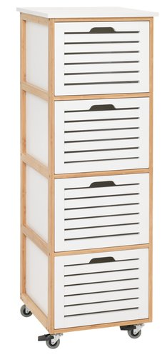 4 drw chest BROBY castor white/bamboo