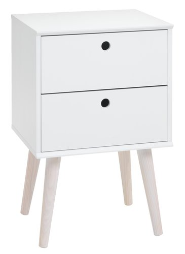 Bedside table OPLEV 2 drw white/pine