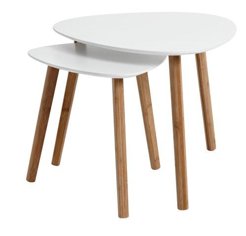 Hörnbord TAPS 40x40 bambu/vit