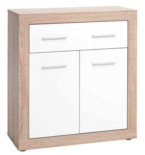 Comodă 1 sertar 2 usi FAVRBO stejar/alb