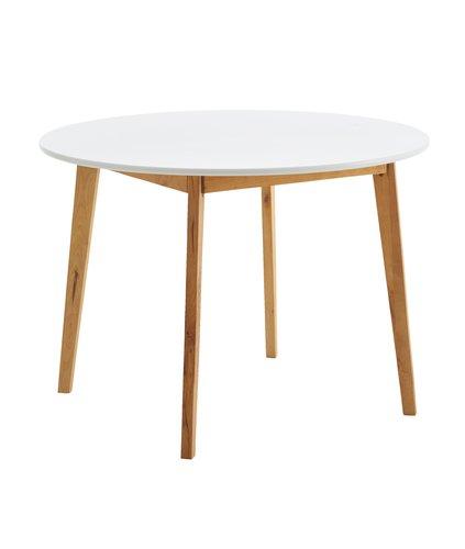 Trpez. stol JEGIND Ø105 cm natur/bijela