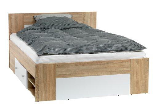 Rama łóżka FAVRBO 180x200 dąb/biały