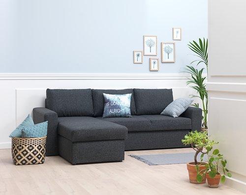 Καναπές-κρεβάτι με σεζλόνγκ VILS σκ.γκρι