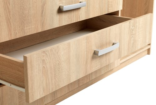 Wardrobe VINDERUP 4 doors 3 drawers oak