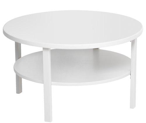 Sohvapöytä SKIBBY Ø80cm hyllyllä valk.