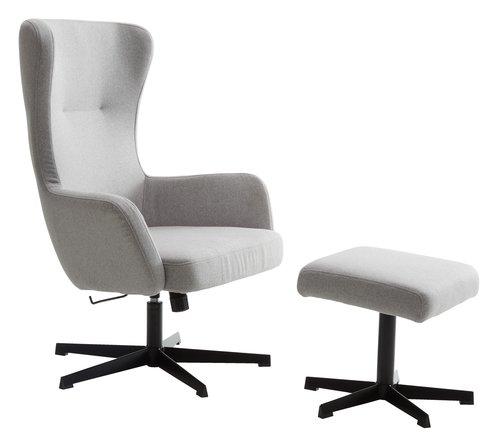 Fotelja s tabureom ARDEN siva