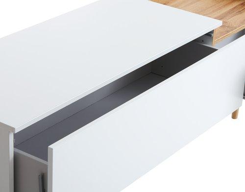 TV stolík AARUP biela/dub
