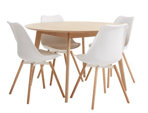 Miza KALBY Ø120 + 4 stoli KASTRUP