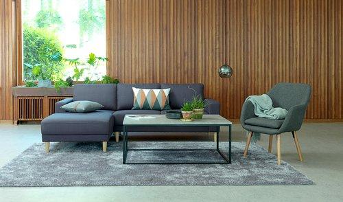 Sofabord DOKKEDAL 75x115cm grå/sort