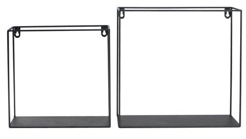 Wall shelf GARD 2 sizes black 2 pack