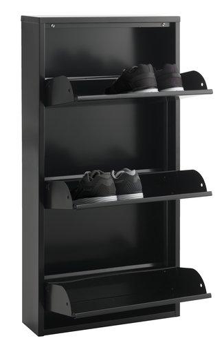 Shoe cabinet HALLENSLEV 3 comp. black