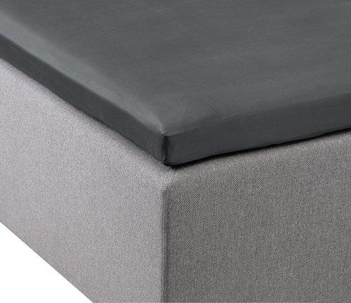 Kuvertlakan satin 160x200x6-10cm grå