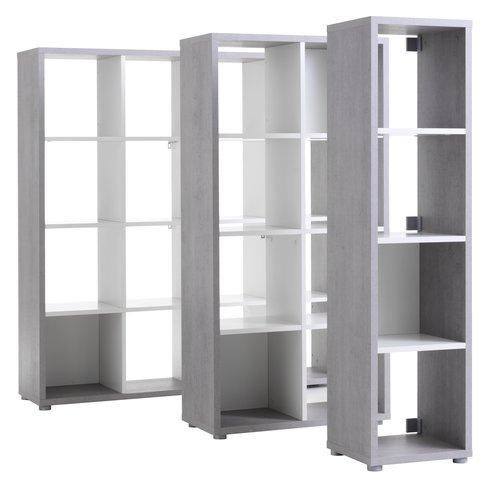 Room divider HALDAGER 4sh concrete/white