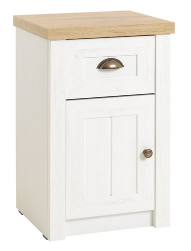 Bedside table MARKSKEL 1 drw white/oak