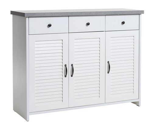 Sideboard MANDERUP 3 door white/concrete