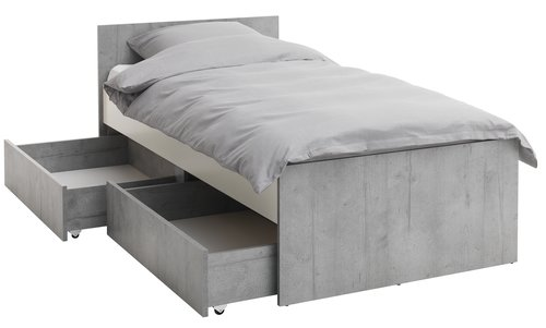 Bed frame BILLUND SGL white/concrete