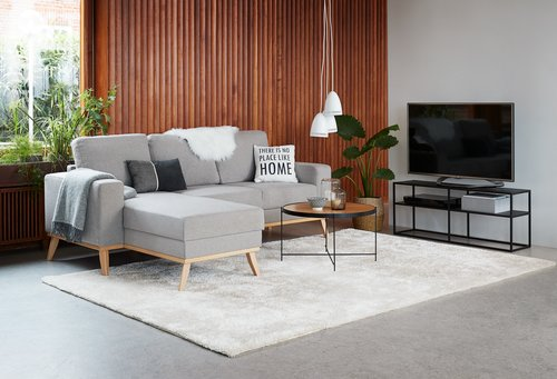 Sofabord HADBJERG Ø70 eik/svart