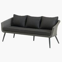 Loungesoffa VEBBESTRUP 3-sits grå