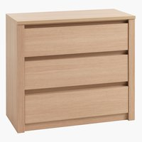 3 drw chest VEDDE wide light oak