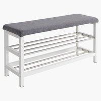 Bench EGESKOV w/shoe shelves metal/white