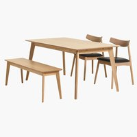 Dining table KALBY 90x160/250 light oak