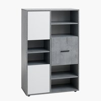 Bookcase BILLUND 3 doors white/concrete