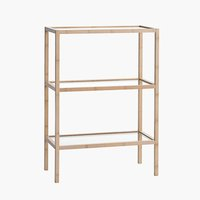 Bookcase BRANDE 3 glass shelves bamboo