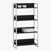 Bookcase GELSTED 4 shelves black/silver