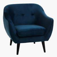 Fauteuil EGEDAL velours donkerblauw