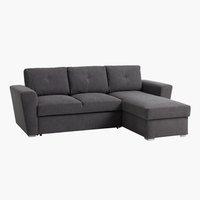 Sofa bed chaiselongue VEJLBY dark grey
