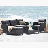 Loungeset MORA 4-persoons m/chaise zwart