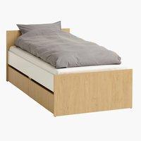 Estrutura cama BILLUND 90x200 brco/carv