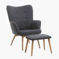 Armchair/footstool SKALBORG dark grey