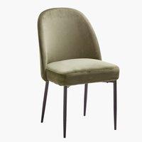 Krzesło VASBY aksamit oliwkowy/czarny