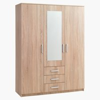 Wardrobe VINDERUP 3 doors 3 drawers oak