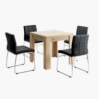 Miza HALLUND + 4 stoli HAMMEL črna