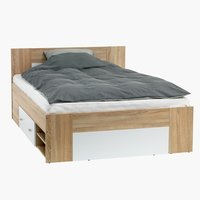 Bed frame FAVRBO SKNG white/oak