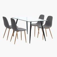 Miza OLLERUP+4 stoli JONSTRUP siva/hrast