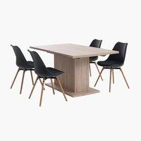 Miza SLAGELSE + 4 stoli KASTRUP čr/hr.