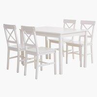 Miza d118 + 4 stoli EJBY bela