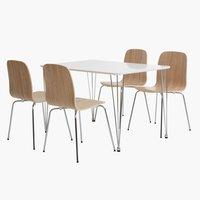 Miza BANNERUP d120 + 4 stoli HALDRUP