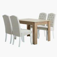 Miza VEDDE D120 + 4 stoli STENLILLE bela