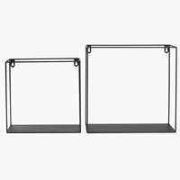 Wall shelf GARD 2 sizes black 2 pack